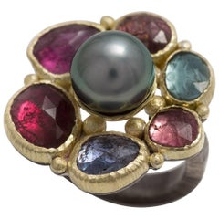 Multicolored Tourmalines Tahitian Pearl Gold and Sterling Silver Cocktail Ring