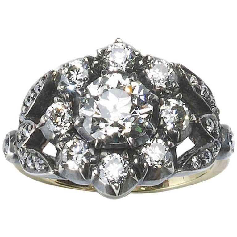 old European cut Diamond Cluster Ring