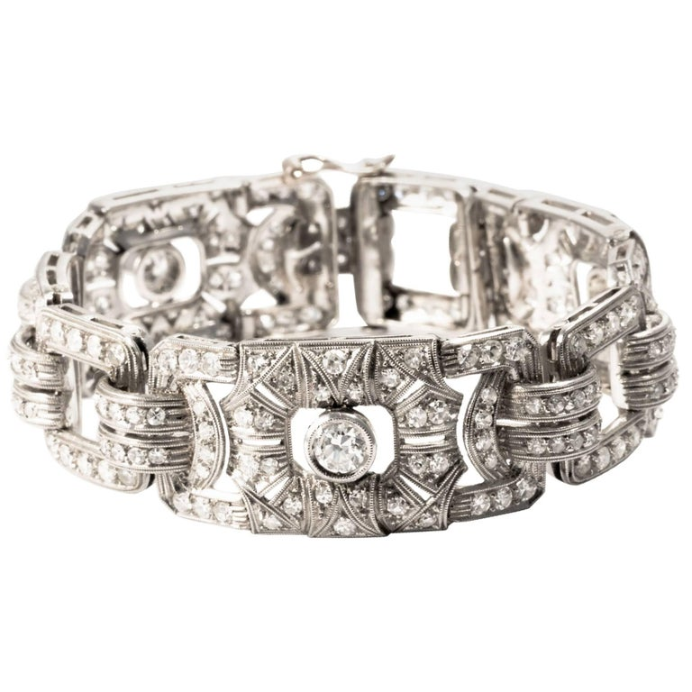 1920 Art Deco Link Diamond Gold Milgrain Bangle Bracelet