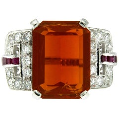 11 Carat Fire Opal Ruby Diamond Gold Ring