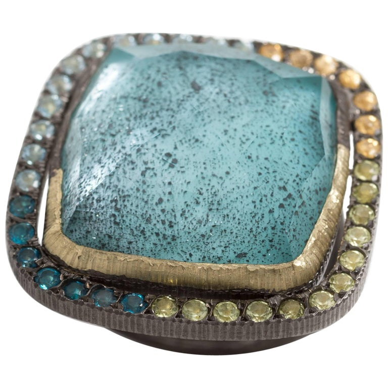 Turquoise Triplet Peridots Blue Topaz Sapphire Cocktail Ring