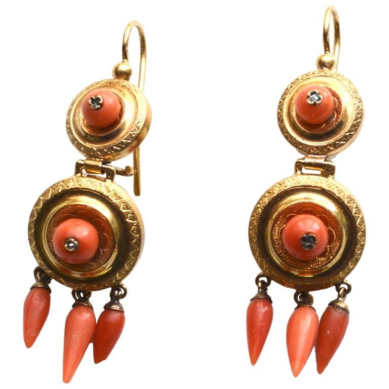 Victorian 14 Karat Coral Earrings For Sale