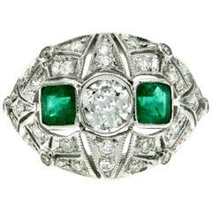 Art Deco Diamond Emerald Gold Ring