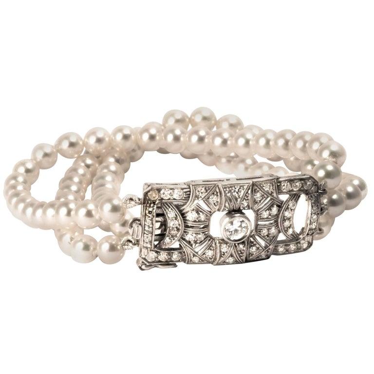 1920 Art Deco Diamond Pearls Gold Bracelet
