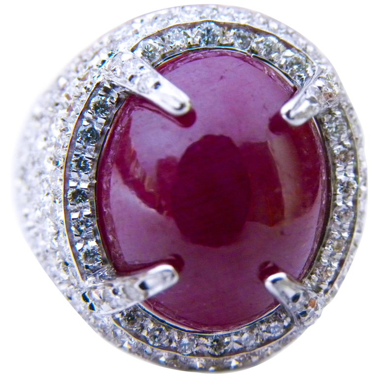 Berca 14.20 Carat Natural Ruby Oval Cabochon White Diamond Cocktail Ring For Sale