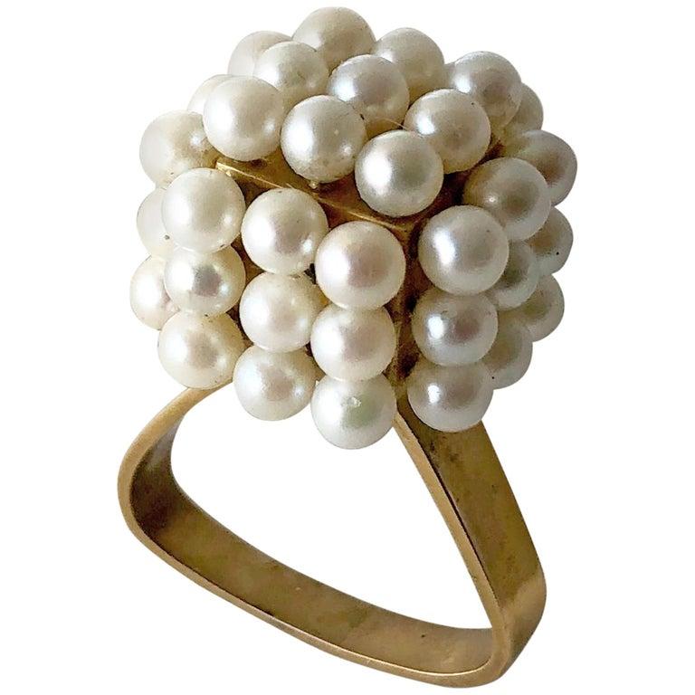 1960s Geometric Custom Scandinavian Modernist Pearl Silver Gold Vermeil Ring For Sale