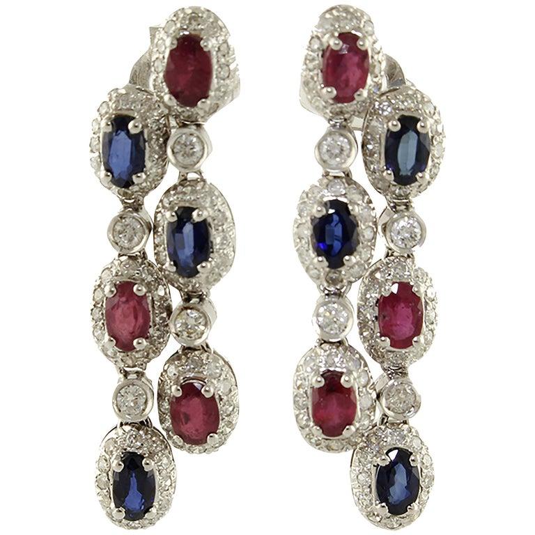 Diamonds Sapphires Rubies White Gold Dangling Earrings
