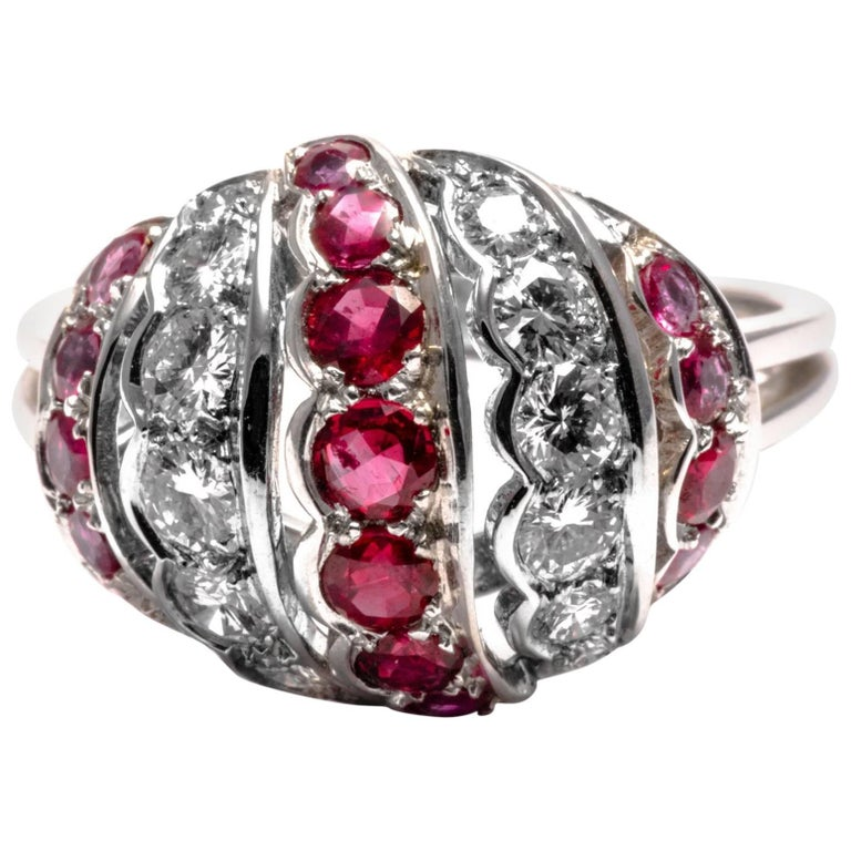 1960 Diamond Ruby Gold Dome Cocktail Ring Band
