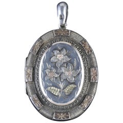 Antique Victorian Locket Silver Gold Forget Me Not, circa 1900