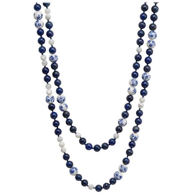 TPL Silver Lapis Porcelain Mother-of-Pearl Bead Necklace