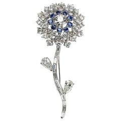 Diamond and Sapphire Flower Brooch