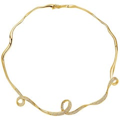 Fei Liu Serenity Cubic Zirconia Yellow Gold Plate Choker Necklace