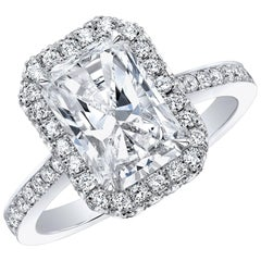 GIA Certified 3.02 Carat Radiant H VS1 Halo Diamond Engagement Ring