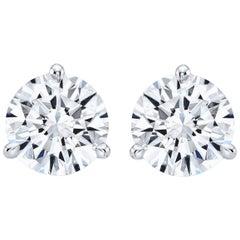 GIA Certified 7.02 Carat TW F VS2 Round Diamond Stud Earrings