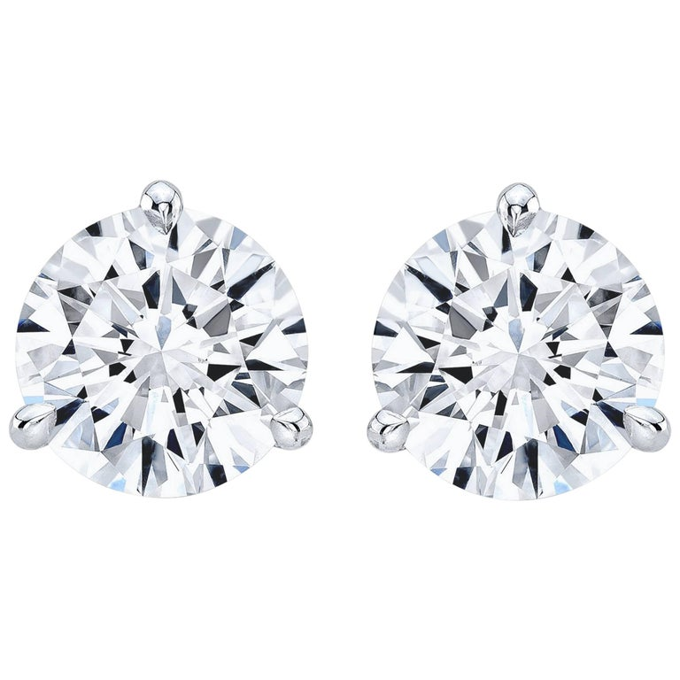 GIA Certified 7.02 Carat TW F VS2 Round Diamond Stud Earrings