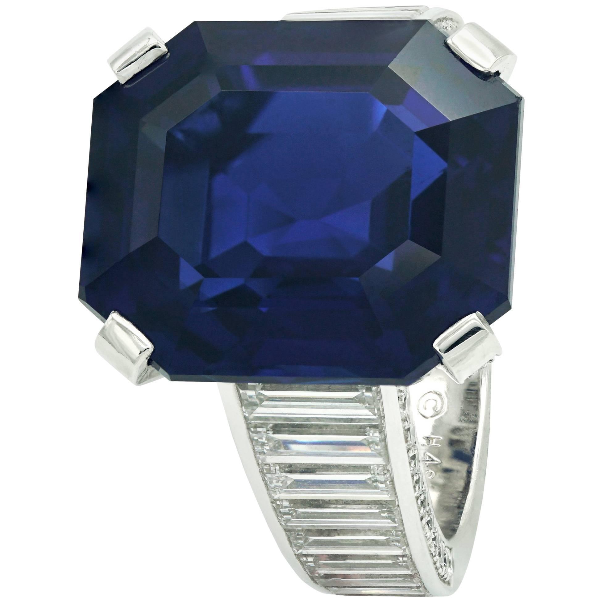 Cartier Ring Royal Blue Sapphire Emerald Cut and Diamonds Baguettes