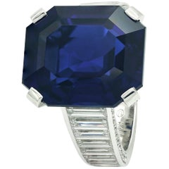 Cartier Ring Royal Blue Sapphire Emerald Cut and Diamonds Baguettes