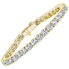 Round 10.00 Carat TW Diamond Tennis Bracelet 18 Karat Yellow Gold
