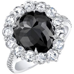 Black Diamond HTHP 3.46 Carat Pearshape Ring with Rose Cut Diamonds