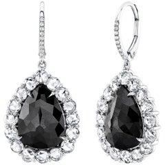 Black Diamond 7.40 Carat TW Pearshape Drop Earrings with Rose Cuts