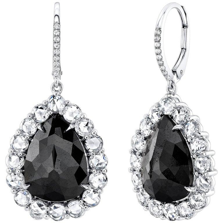 Black Diamond 7.40 Carat TW Pearshape Drop Earrings with Rose Cuts