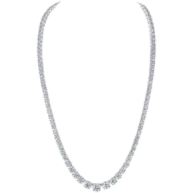 18.10 Carat TW Round Graduated Diamond Riviera Platinum Necklace