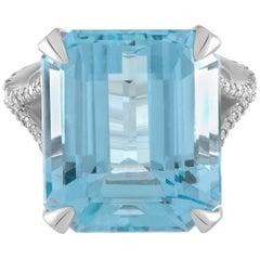 Handmade Platinum, Diamond & 18.15ct Natural Brazilian Aquamarine Cocktail Ring