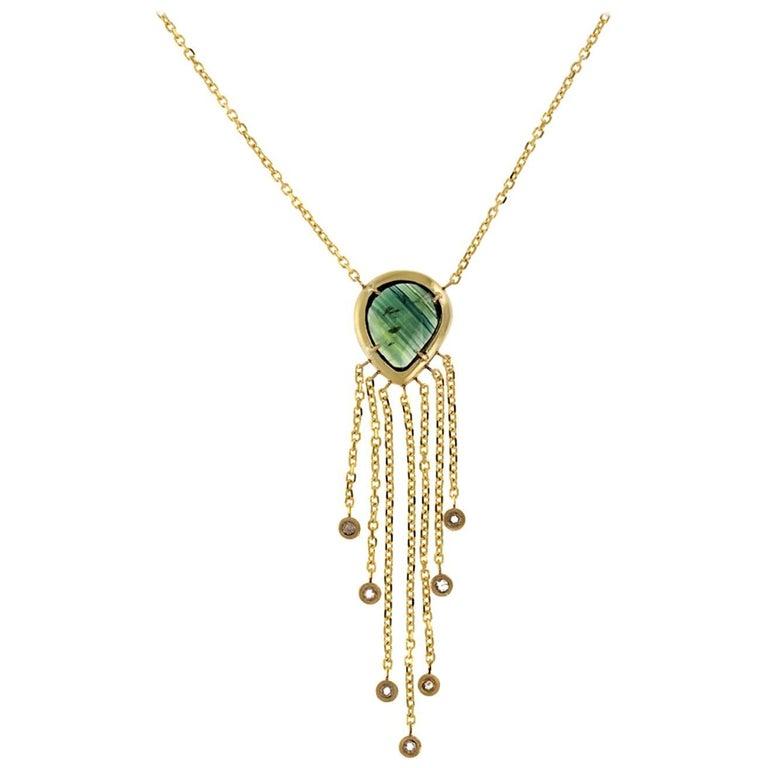 Alexandra 18 Karat Yellow Rosecut Tourmaline and Natural Diamond Necklace