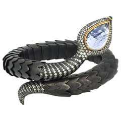 Snake Tanzanite and Steel Bracelet