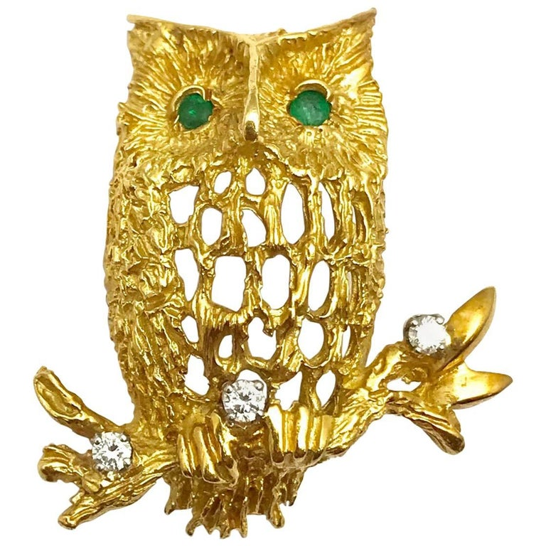 Diamond and Emerald Yellow Gold Owl Brooch