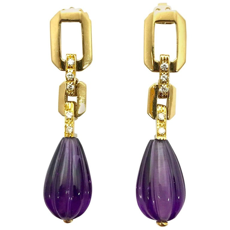 Carved Amethyst and Diamond Yellow Gold Dangle Earrings