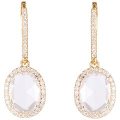 Rose Cut Oval F VS Diamond Dangle Earrings 2.57 Carat TW 18 Karat Rose Gold