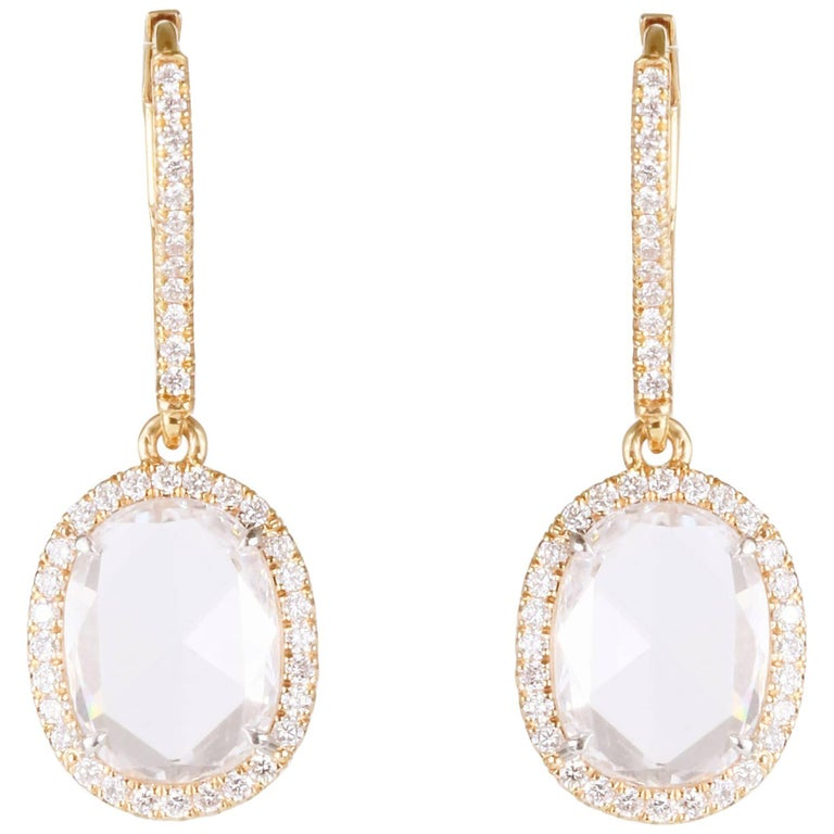 Rose Cut Oval F VS Diamond Dangle Earrings 2.57 Carat TW 18 Karat Rose Gold For Sale
