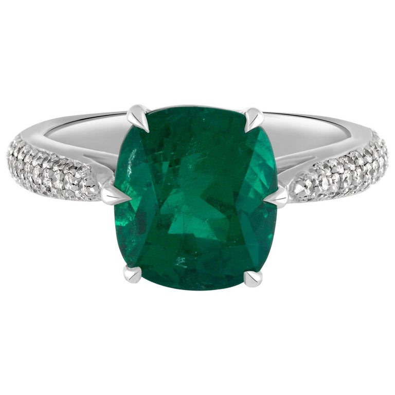 Handmade Platinum, Diamond & 3.17ct Cushion Cut Colombian Emerald Cocktail Ring