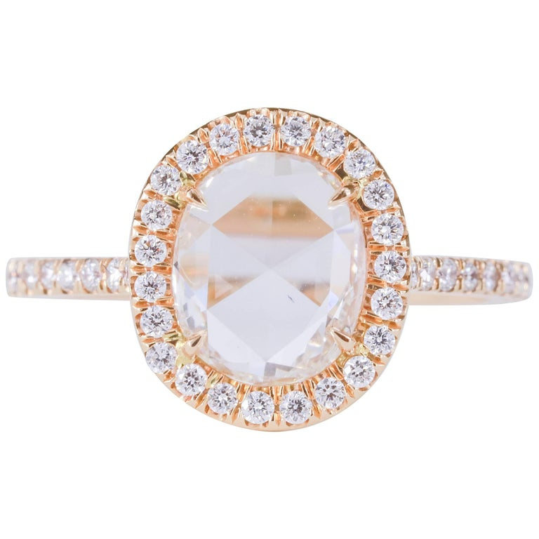 1.49 Carat Oval Rose-Cut Diamond Halo Ring 18 Karat Rose Gold