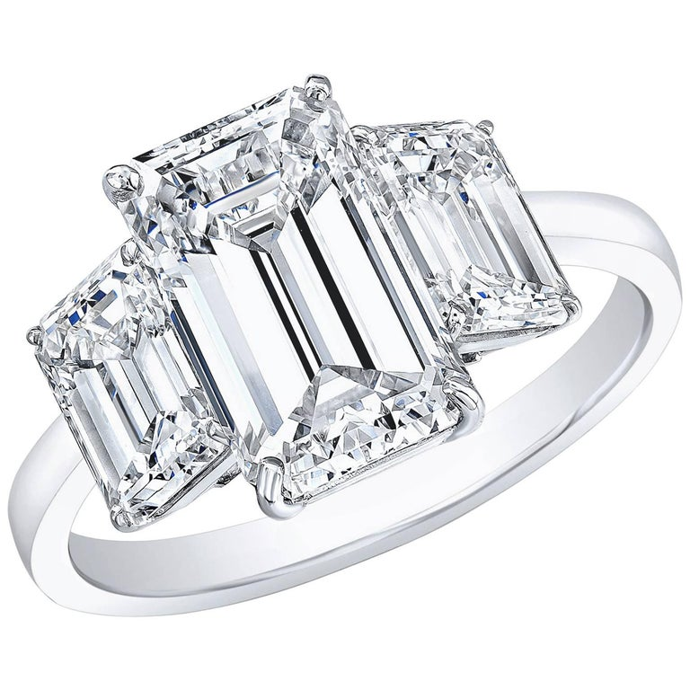 GIA Certified 2.02 Carat G VS2 Emerald Cut Three-Stone Ring 18 karat White Gold For Sale