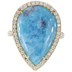 8.95 Carat Paraiba Tourmaline Pear-Shape Slice Cocktail Ring 18 Karat Gold