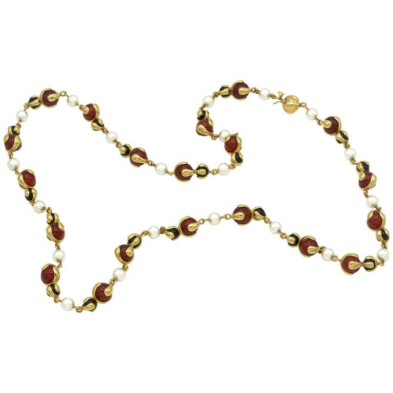 Marina B. Cardan Orange and Black Beads