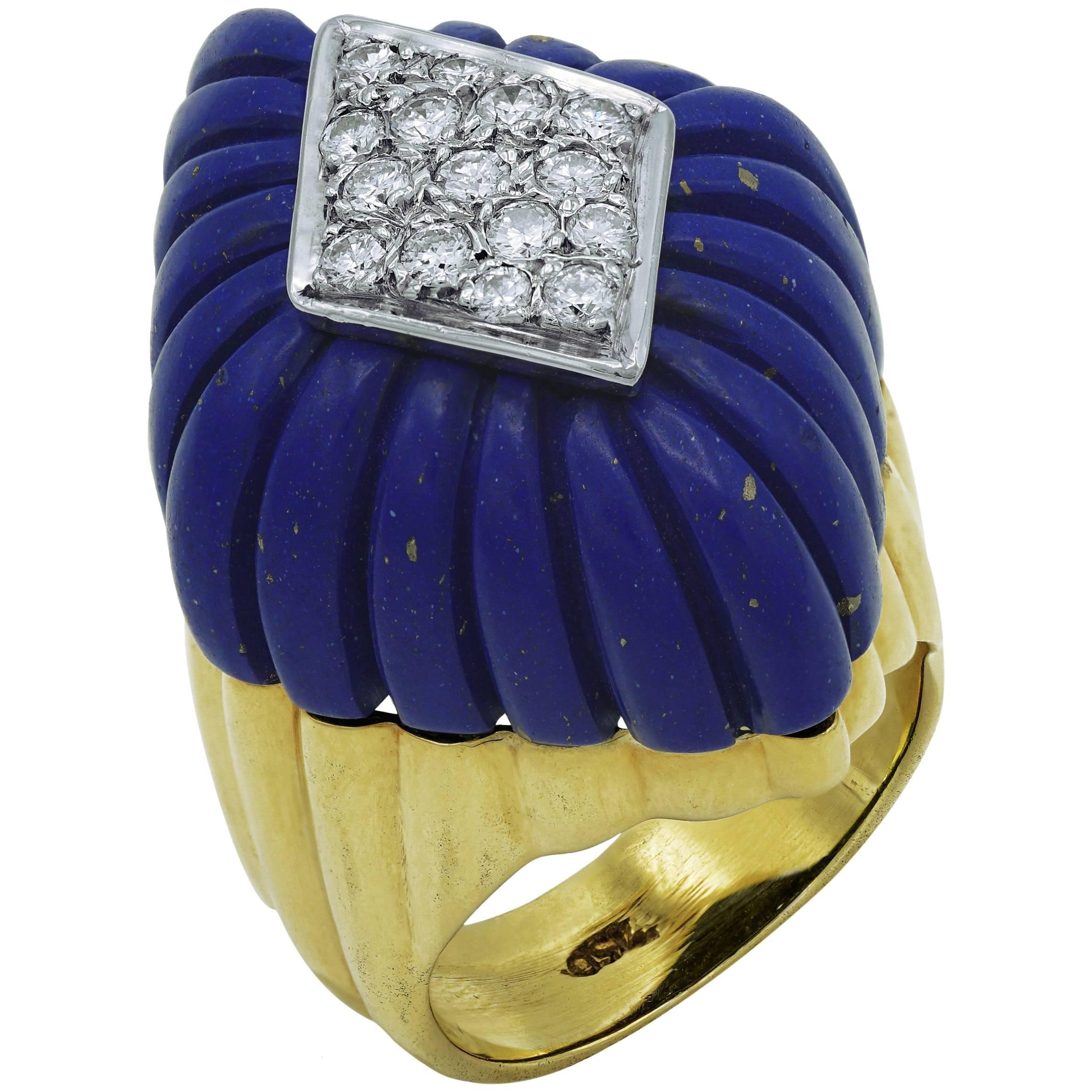 Lapis-Lazuli and Diamonds Ring