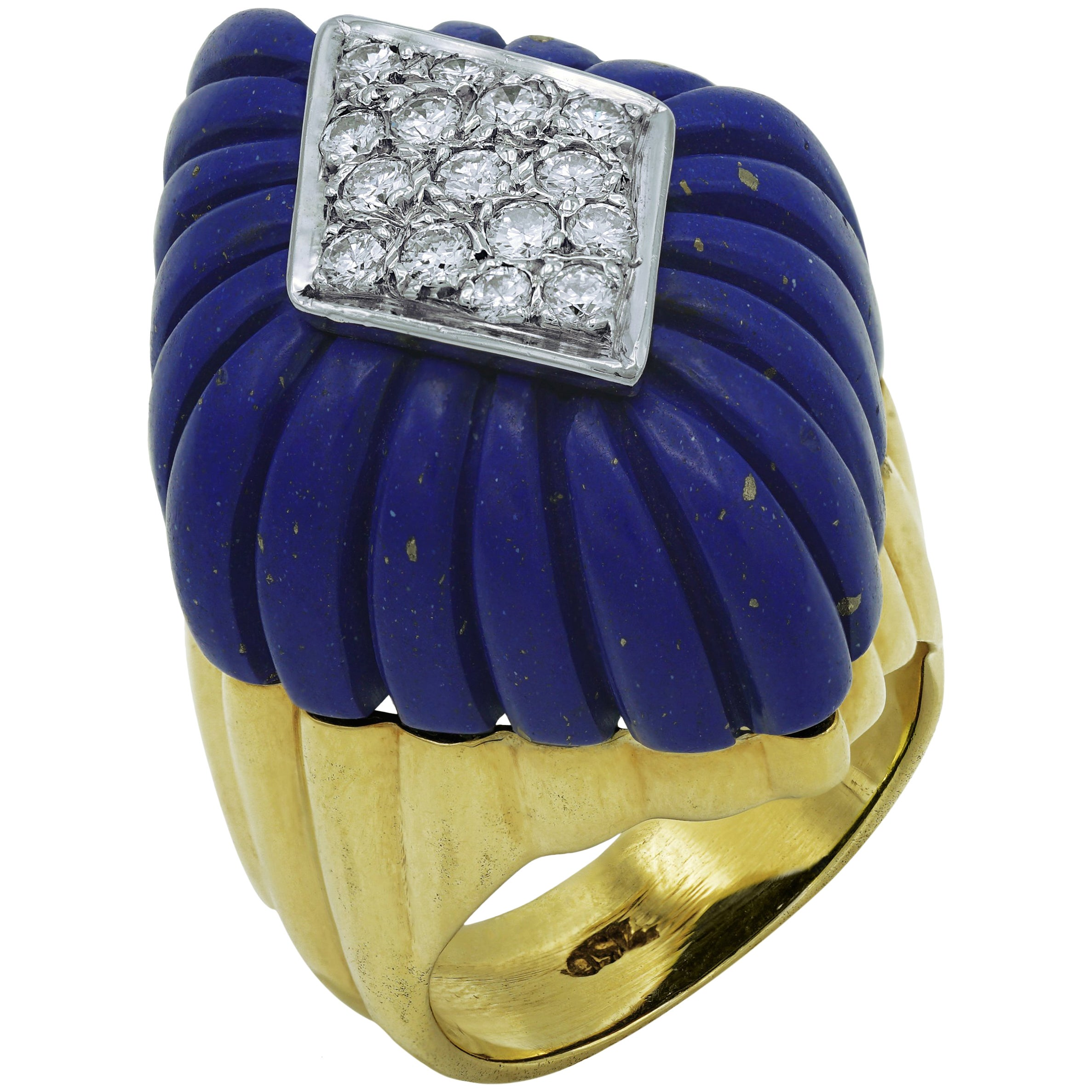 Lapis-Lazuli and Diamonds Ring