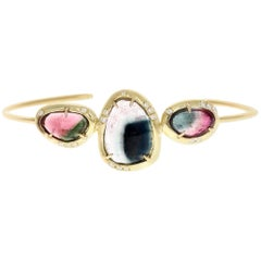 Davie 18 Karat Gold Tourmaline and Diamond Cuff