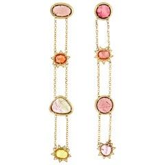 Esmeralda 18 Karat Gold Rosecut Tourmaline, Sapphire and Diamond Earrings