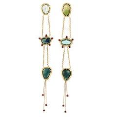 Essie 18 Karat Gold Rosecut Tourmaline, Sapphire and Garnet Earrings