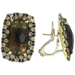 18 Karat Yellow Gold Garavelli Earrings with Brown Diamonds and Smoky Quartz