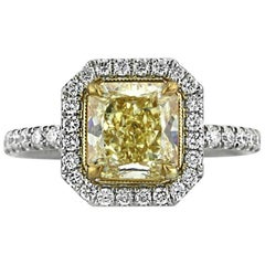 Mark Broumand 2.76 Carat Fancy Intense Radiant Cut Diamond Engagement Ring