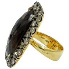 18 Karat Yellow Gold Garavelli Ring with Brown Diamonds and Smoky Quartz