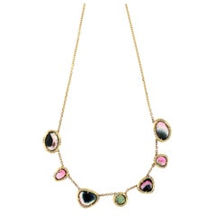 June 18 Karat Gold Tourmaline and VS+ Diamond Necklace