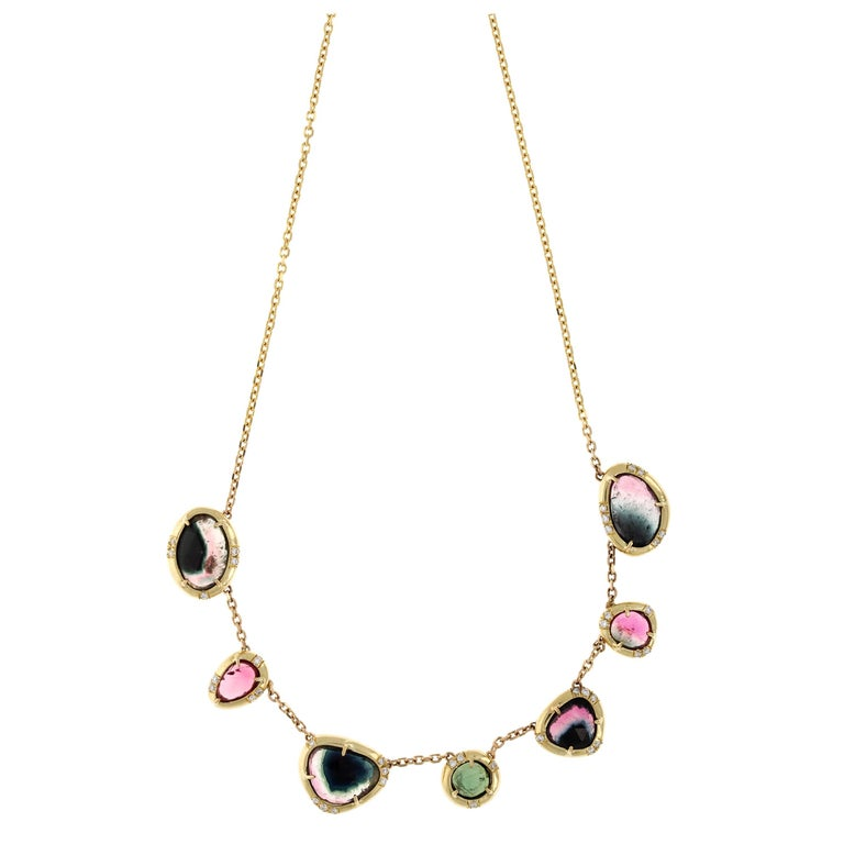 June 18 Karat Gold Tourmaline and VS+ Diamond Necklace