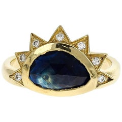 Juno 18 Karat Gold Rosecut Sapphire and VS+ Diamond Ring