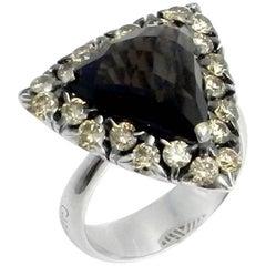 18 Karat White Gold Garavelli Ring with Brown Diamonds and Smoky Quartz